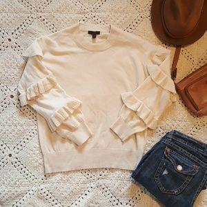 J.CREW cream wool sweater - ruffle sleeves